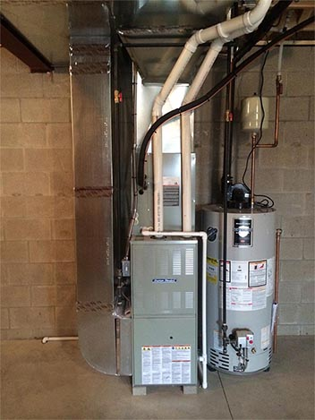 Residential HVAC System Hot Water Tank Installation
